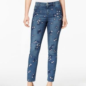 Style & co curvy skinny leg embroidered jeans